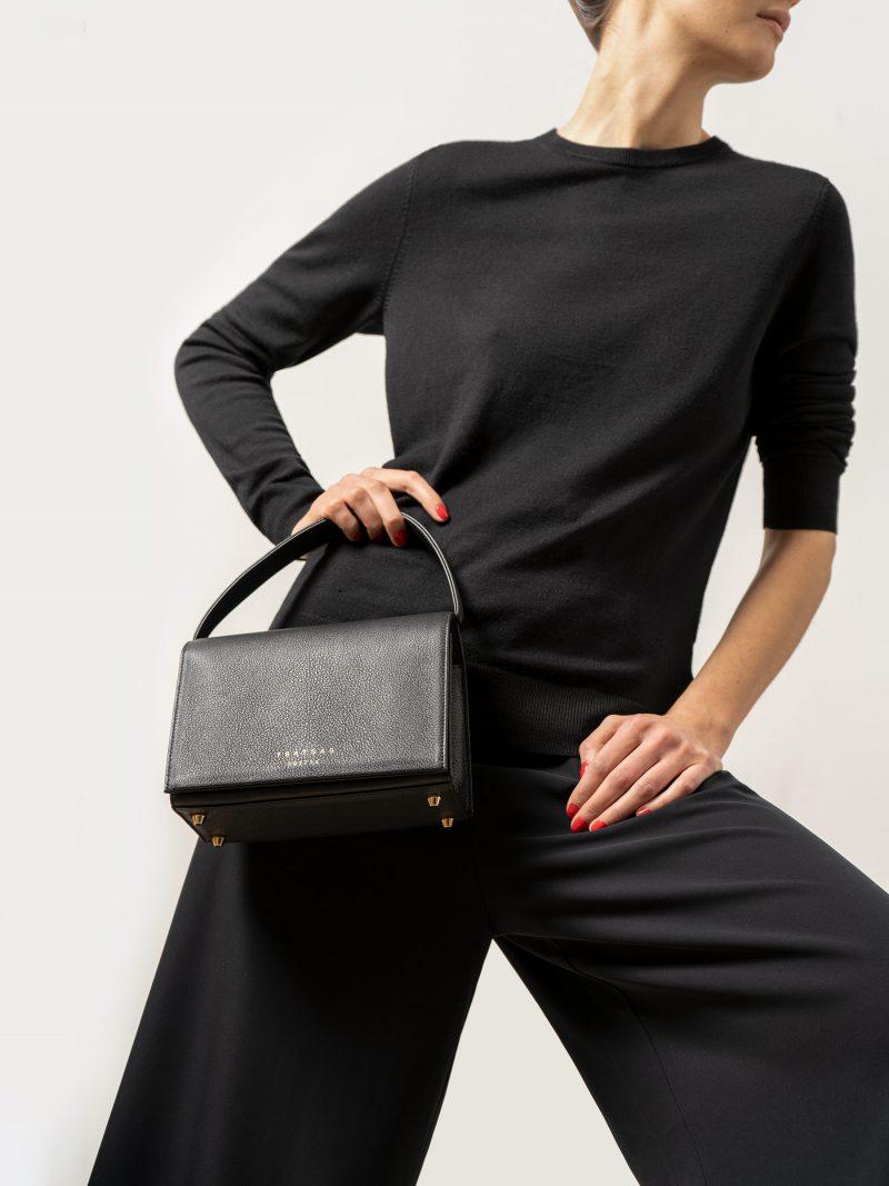 MALVA 4 handbag in black calfskin leather | TSATSAS