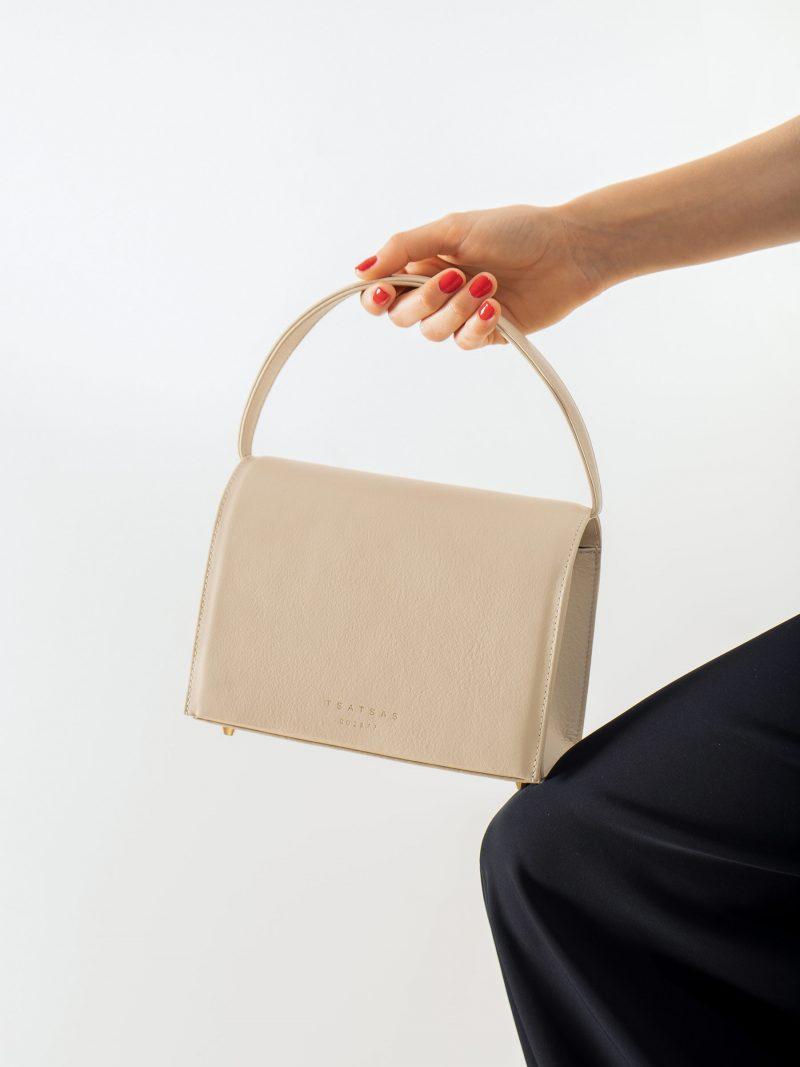MALVA 4 handbag in ivory calfskin leather | TSATSAS