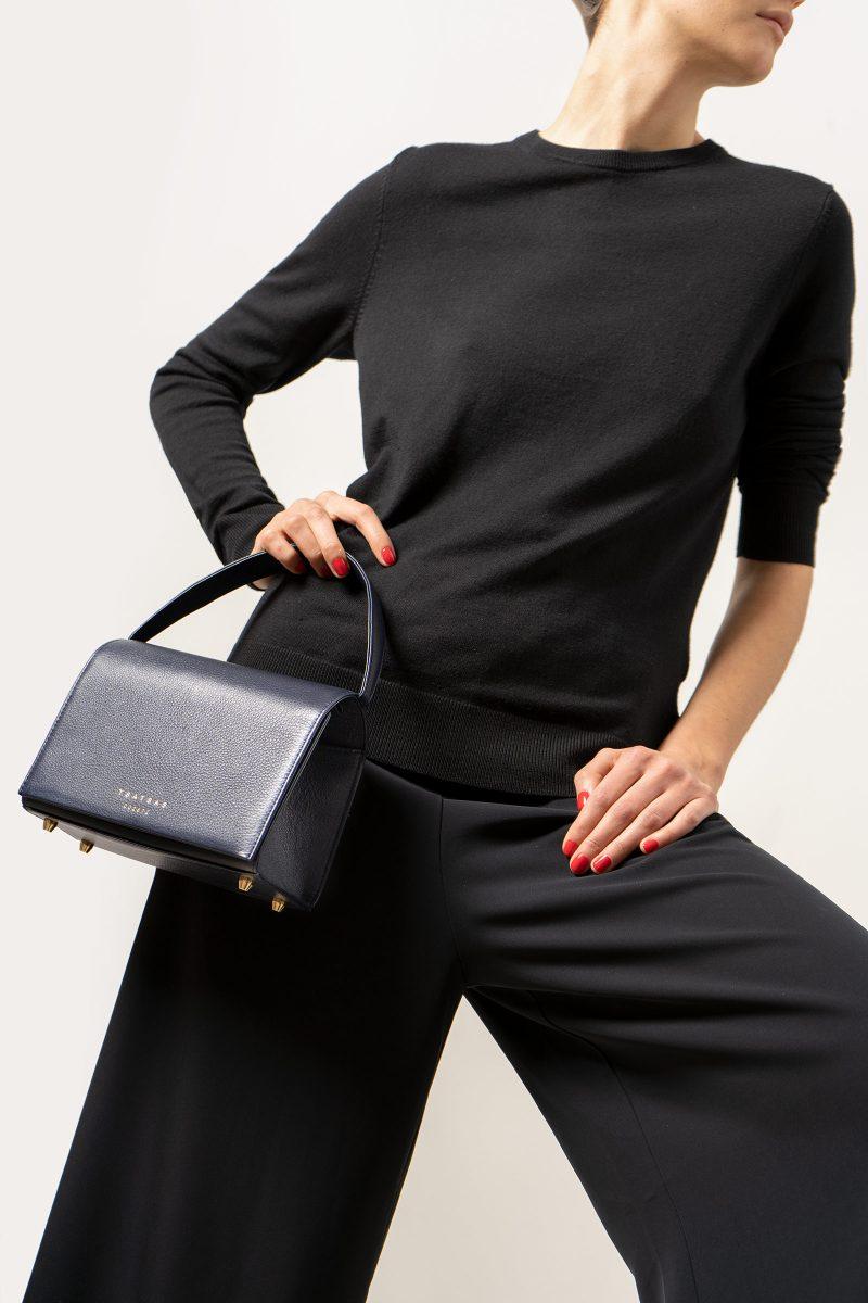 MALVA 4 handbag in navy blue calfskin leather | TSATSAS