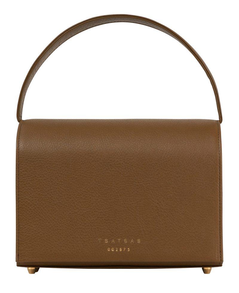 MALVA 4 handbag in olive brown calfskin leather | TSATSAS