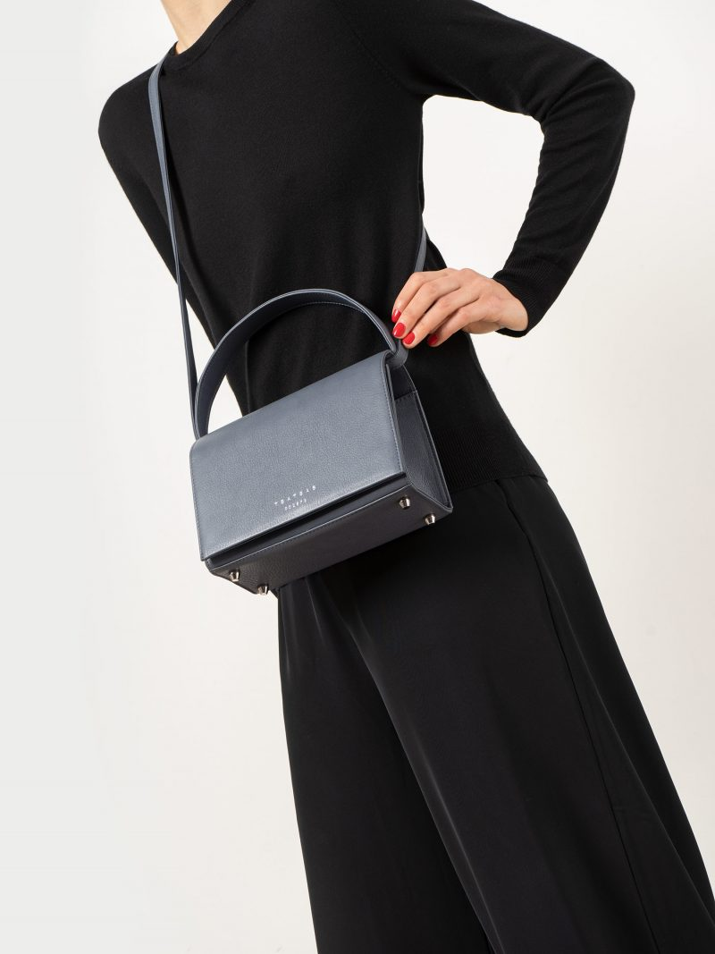 MALVA 4 handbag in slate blue calfskin leather | TSATSAS