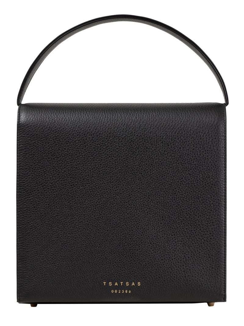 MALVA 5 hand bag in black calfskin leather | TSATSAS