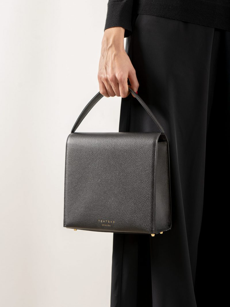 MALVA 5 handbag in black calfskin leather | TSATSAS