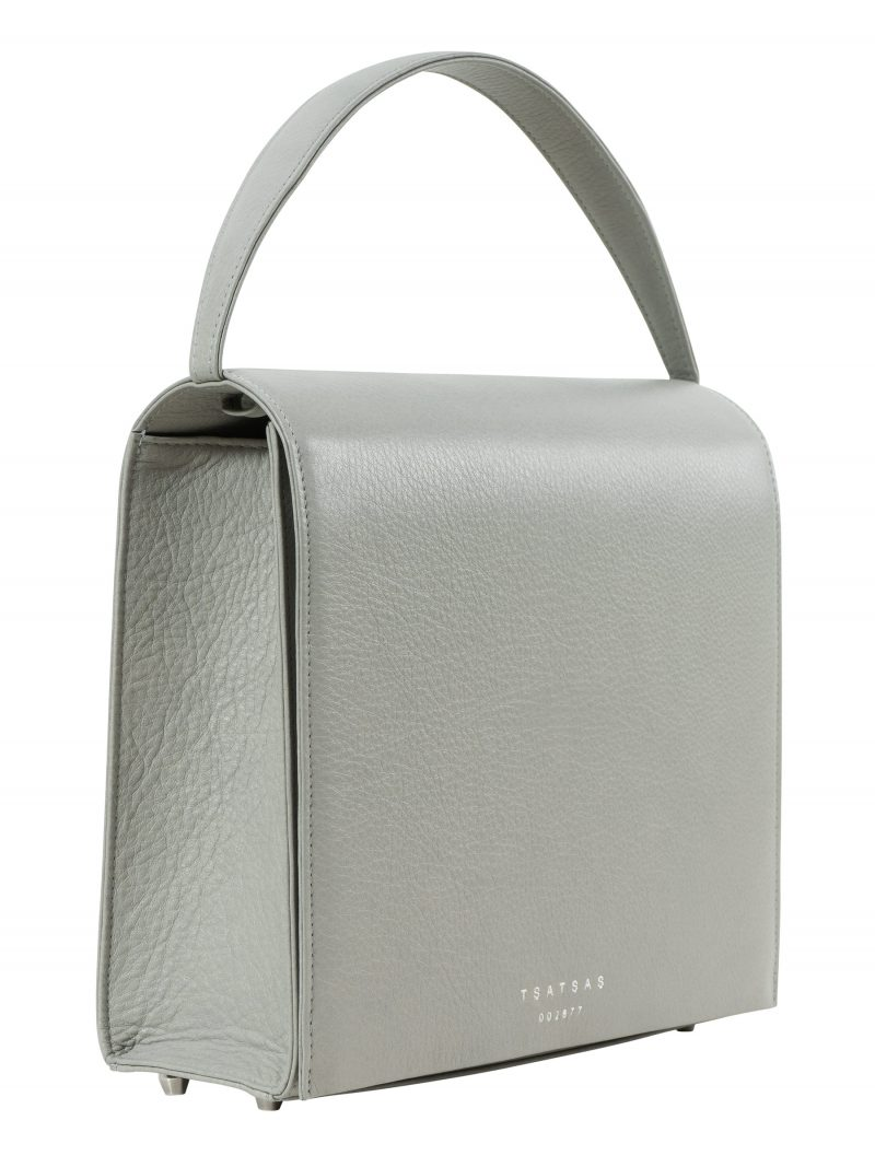 MALVA 5 hand bag in concrete grey calfskin leather | TSATSAS