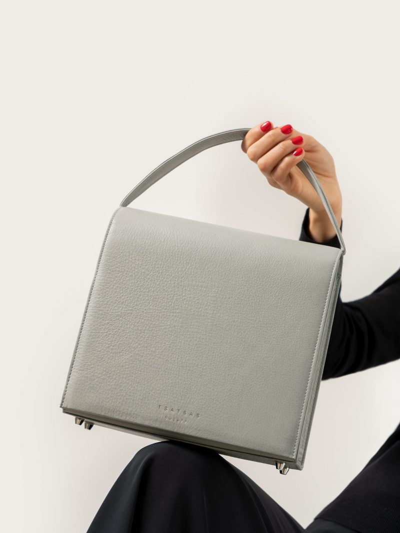 MALVA 5 handbag in concrete grey calfskin leather | TSATSAS