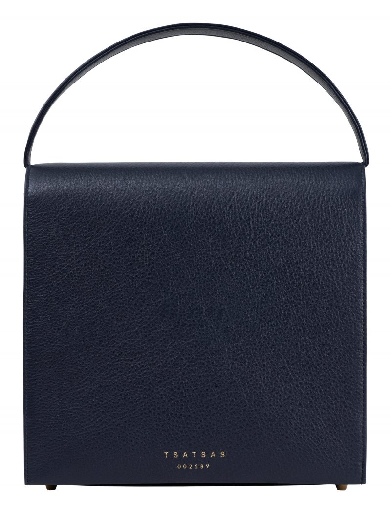 MALVA 5 hand bag in navy blue calfskin leather | TSATSAS