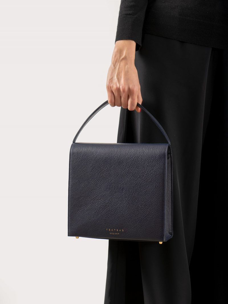 MALVA 5 handbag in navy blue calfskin leather | TSATSAS
