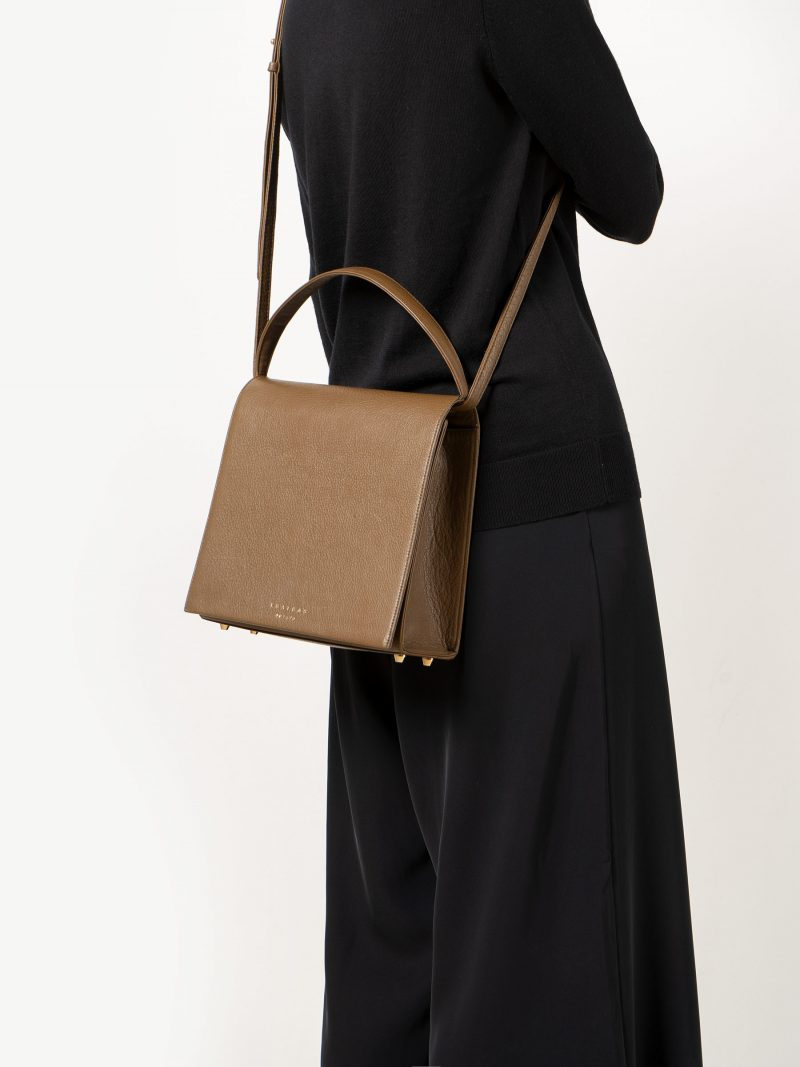 MALVA 5 handbag in olive brown calfskin leather | TSATSAS