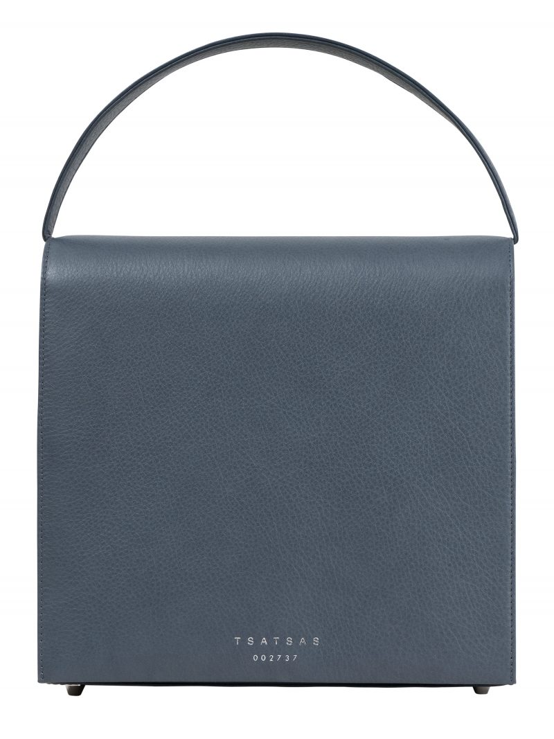 MALVA 5 hand bag in slate blue calfskin leather | TSATSAS