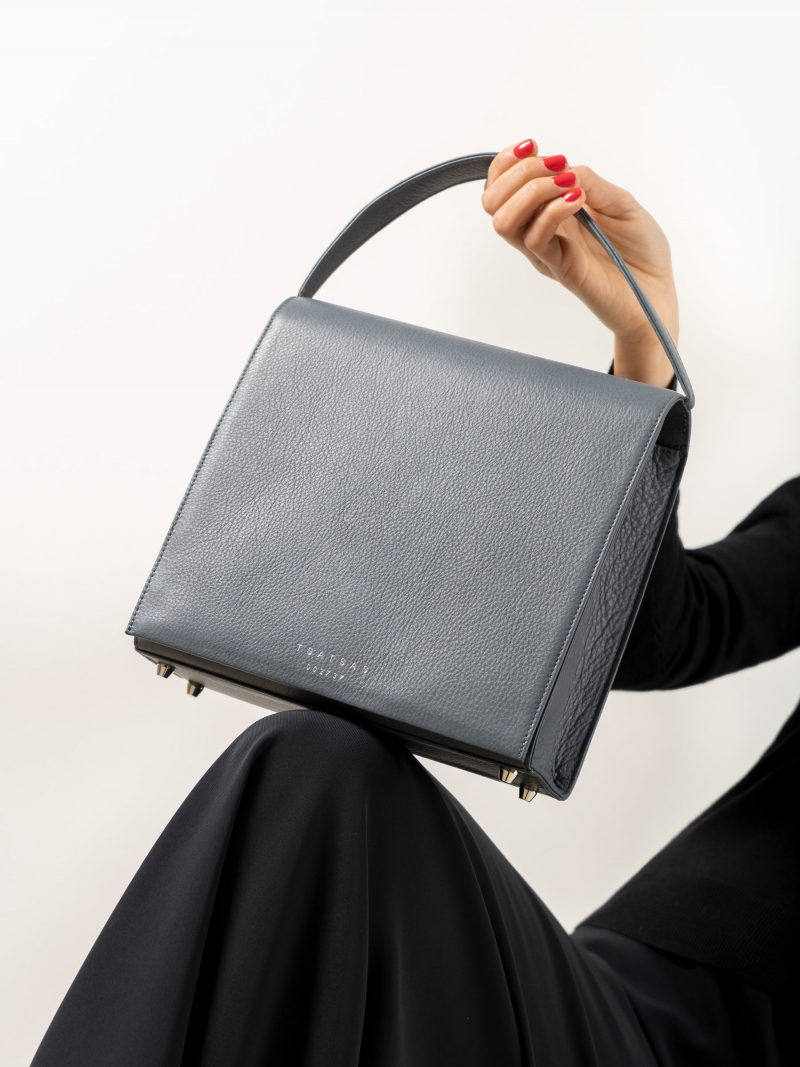 MALVA 5 handbag in slate blue calfskin leather | TSATSAS