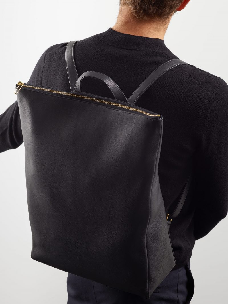 MARSH backpack in black calfskin leather | TSATSAS