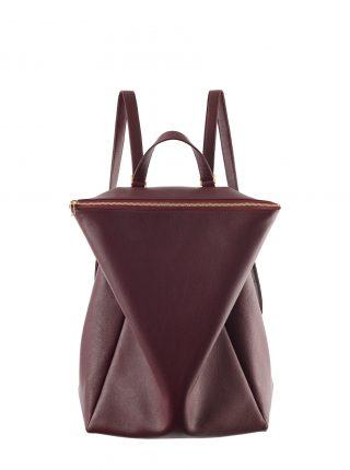 MARSH backpack in burgundy calfskin leather | TSATSAS