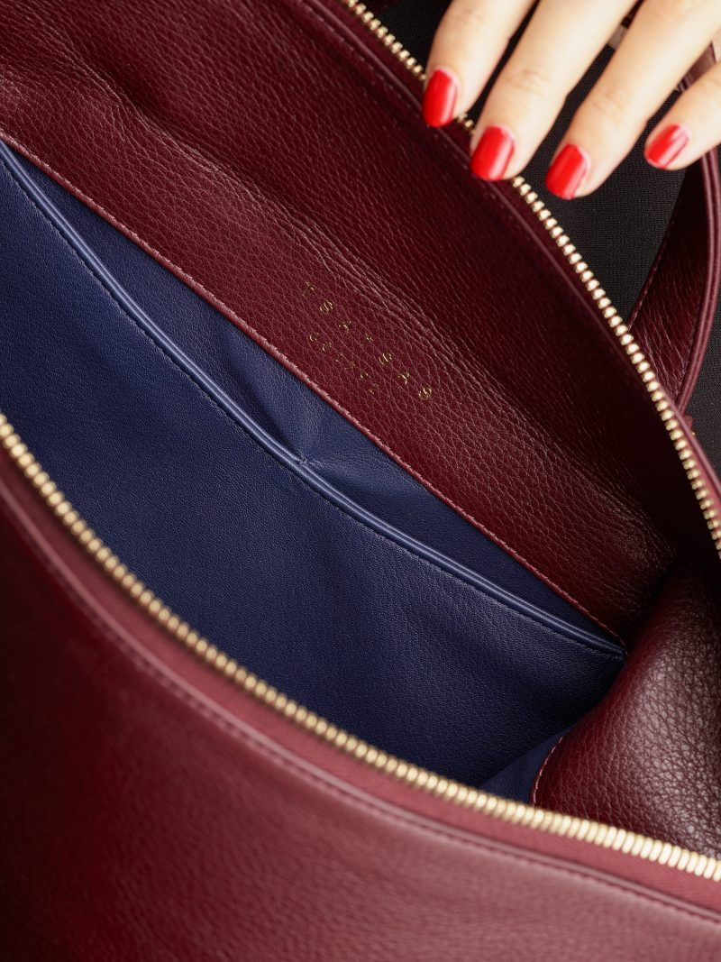 MARSH backpack in burgundy calfskin leather | TSATSAS