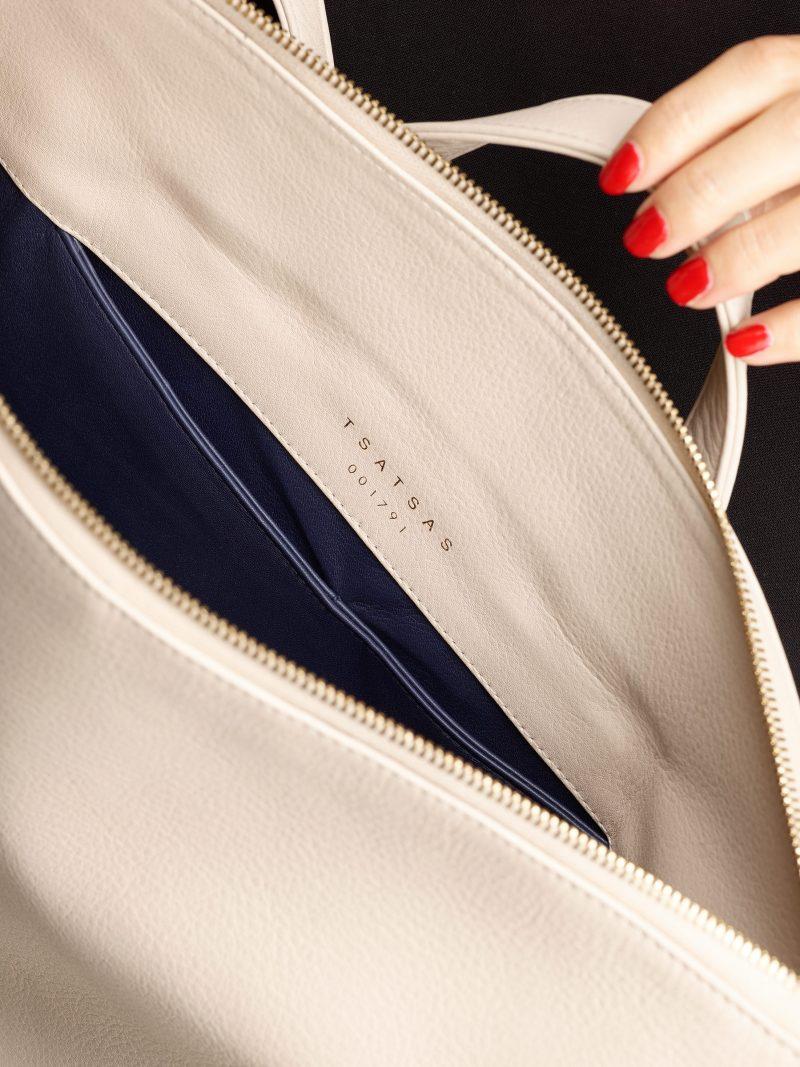 MARSH backpack in ivory calfskin leather | TSATSAS