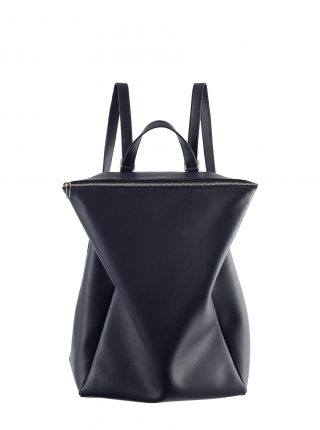 MARSH backpack in navy blue calfskin leather | TSATSAS