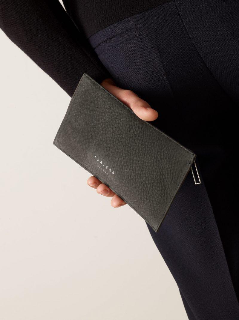 MATTER 1 case in black grey nubuck leather | TSATSAS