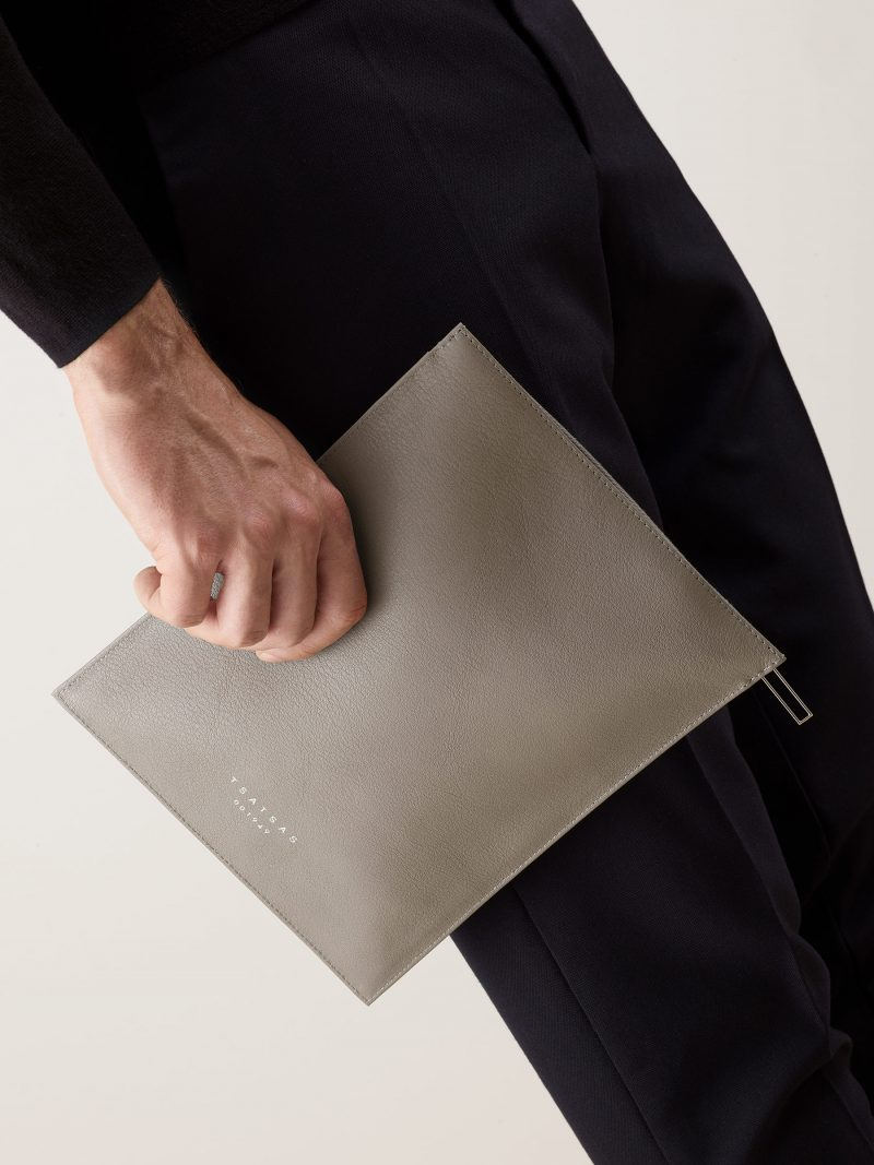 MATTER 2 case in grey calfskin leather   TSATSAS