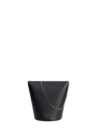 OLIVE shoulder bag in black calfskin leather | TSATSAS