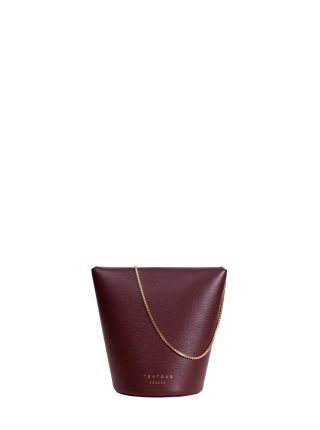 OLIVE shoulder bag in burgundy calfskin leather | TSATSAS