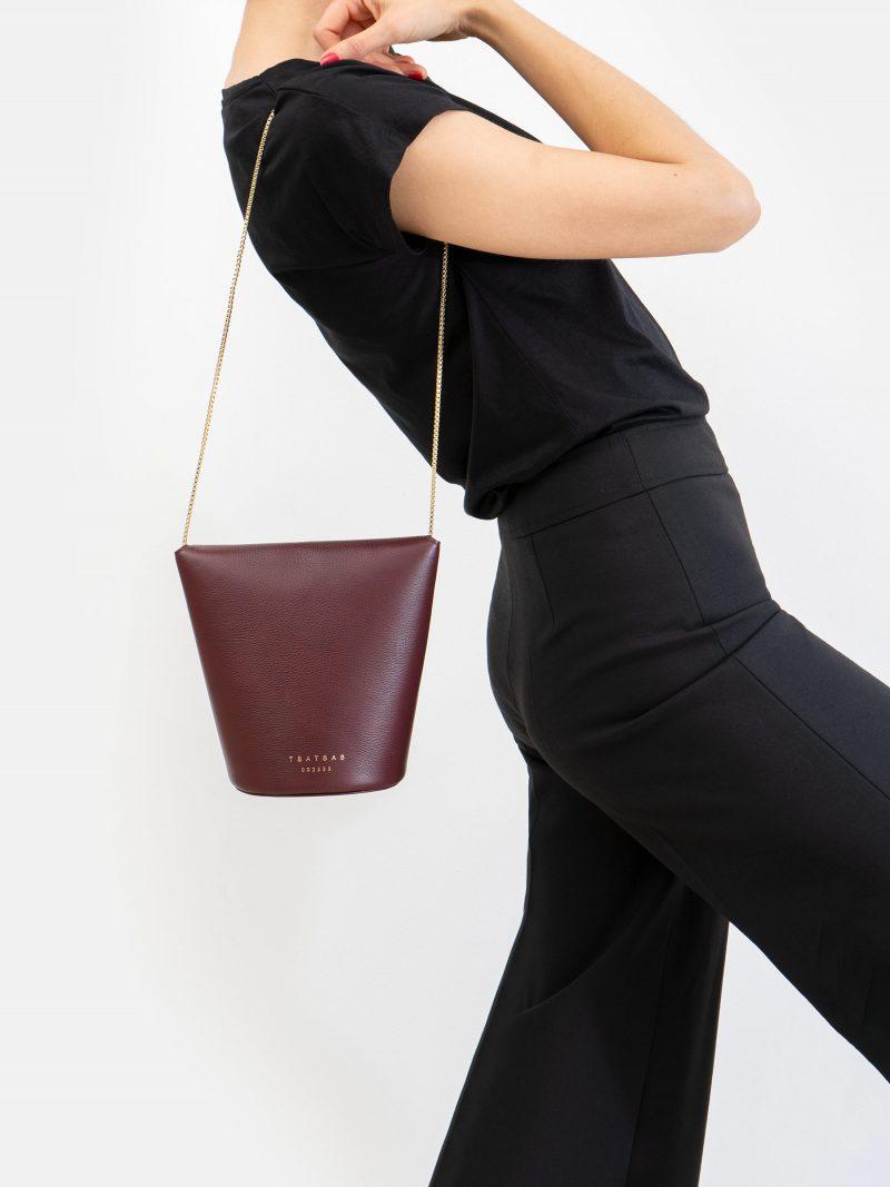 OLIVE shoulder bag in burgundy calfskin leather | TSATSAS