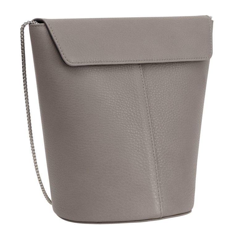 OLIVE shoulder bag in grey calfskin leather | TSATSAS