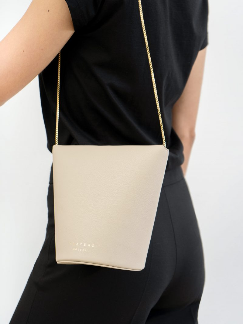 OLIVE shoulder bag in ivory calfskin leather | TSATSAS