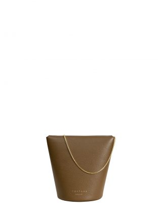 OLIVE shoulder bag in olive brown calfskin leather | TSATSAS