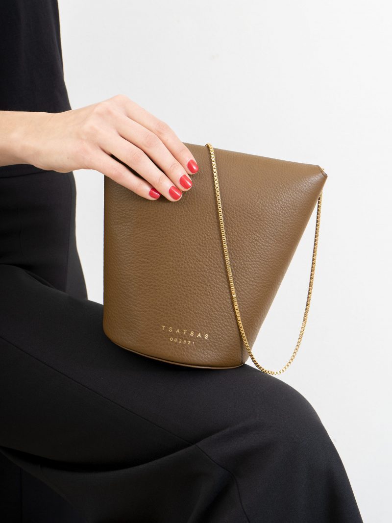 OLIVE shoulder bag in olive brown calfskin leather | TSATSAS