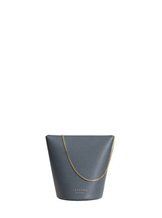 OLIVE shoulder bag in slate blue calfskin leather | TSATSAS