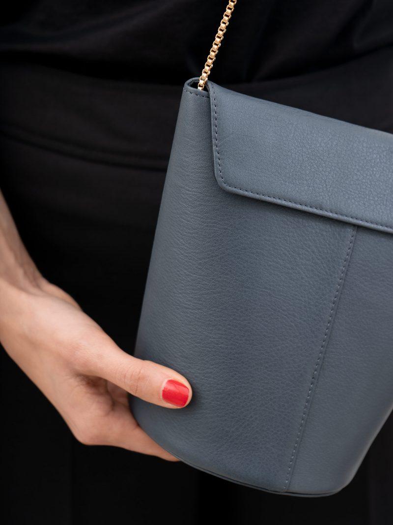 OLIVE shoulder bag in slate blue calfskin leather | TSATSAS