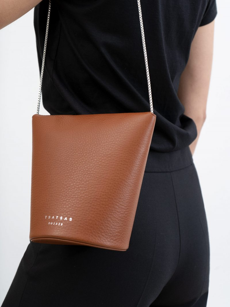 OLIVE shoulder bag in tan calfskin leather | TSATSAS