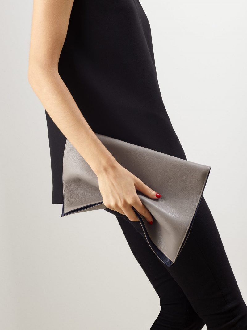 OTHER ONE pouch bag in grey calfskin leather | TSATSAS