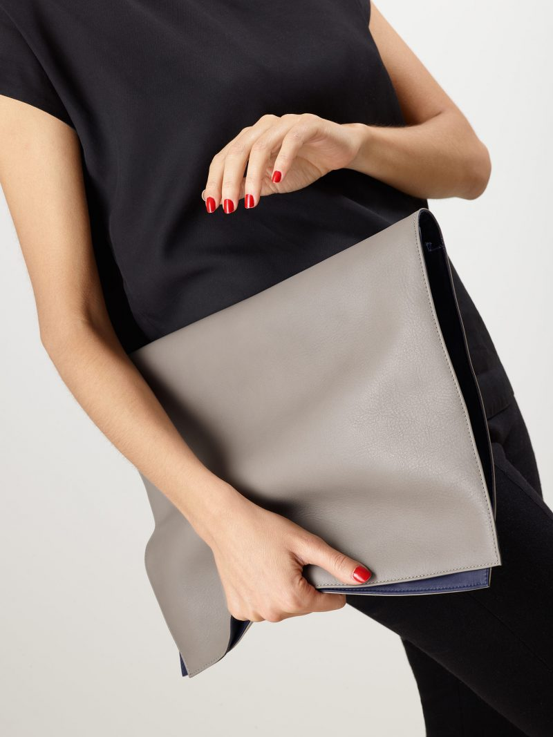 OTHER TWO pouch bag in grey calfskin leather | TSATSAS