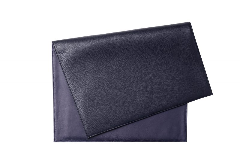OTHER TWO pouch bag in navy blue calfskin leather   TSATSAS