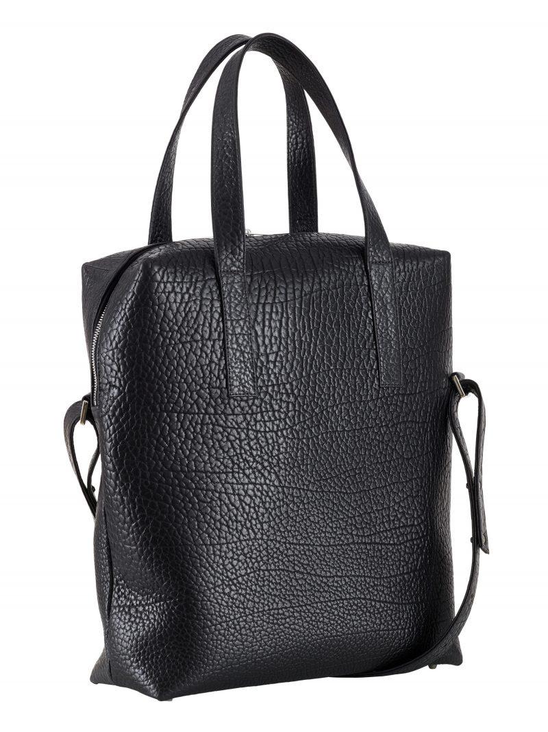 POLLOCK tote bag in black bison leather | TSATSAS