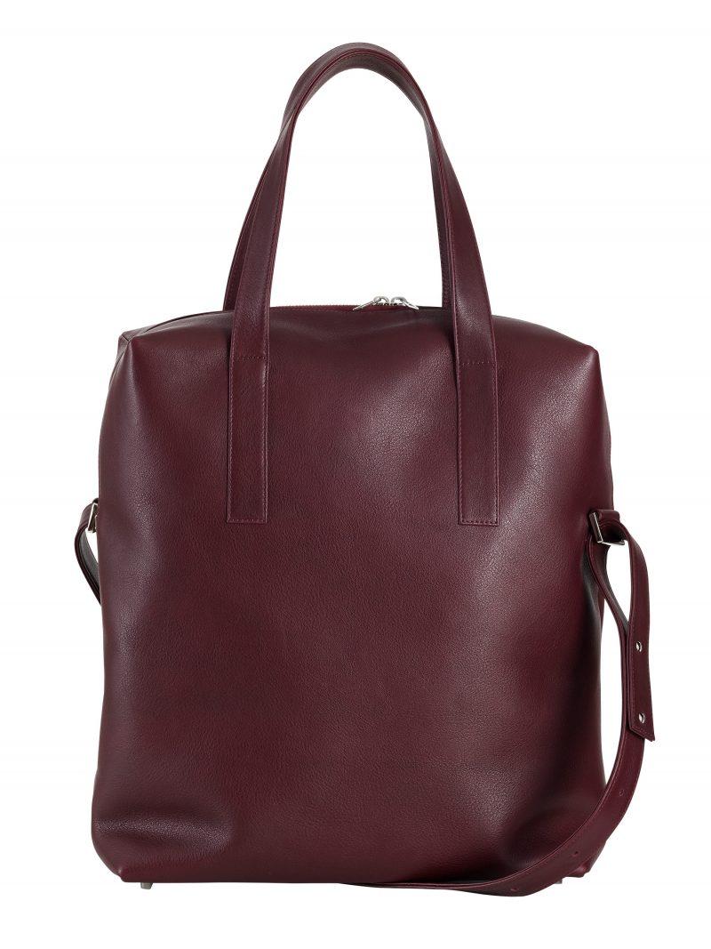 POLLOCK tote bag in burgundy calfskin leather | TSATSAS