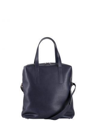 POLLOCK tote bag in navy blue calfskin leather | TSATSAS