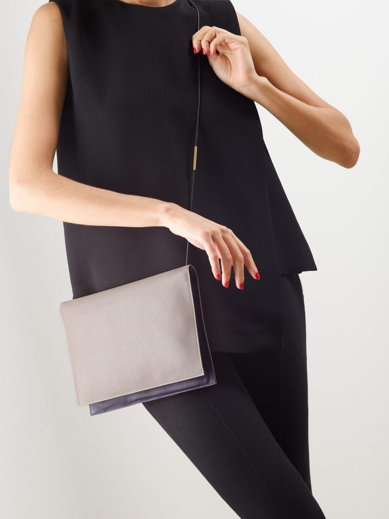 RE-OTHER shoulder bag in grey calfskin leather | TSATSAS