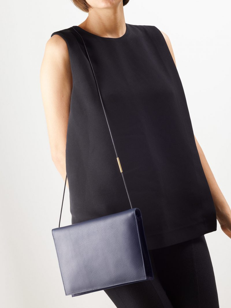 RE-OTHER shoulder bag in navy blue calfskin leather | TSATSAS