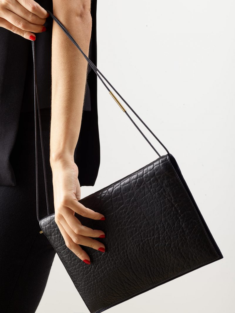 RE-OTHER shoulder bag in black shrunken lamb nappa leather | TSATSAS