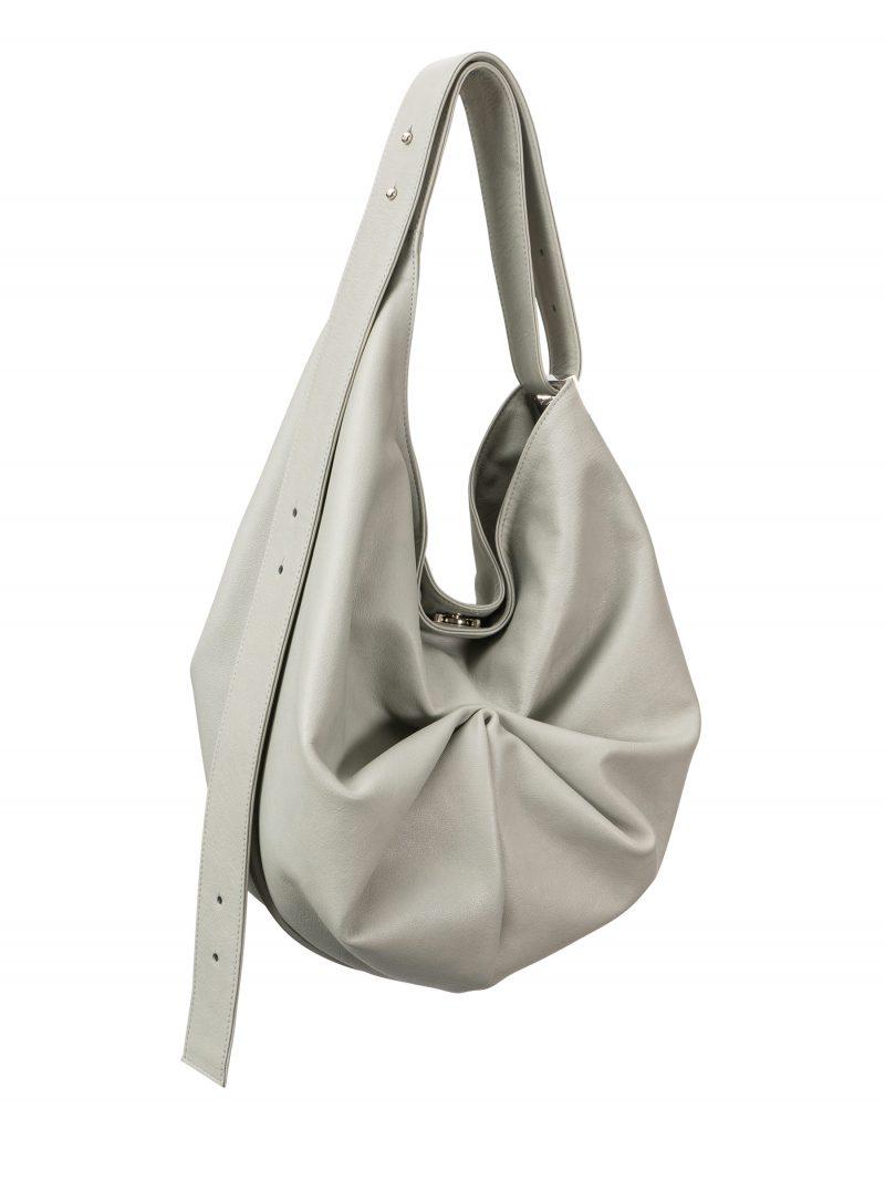 SACAR S shoulder bag in concrete grey calfskin leather | TSATSAS