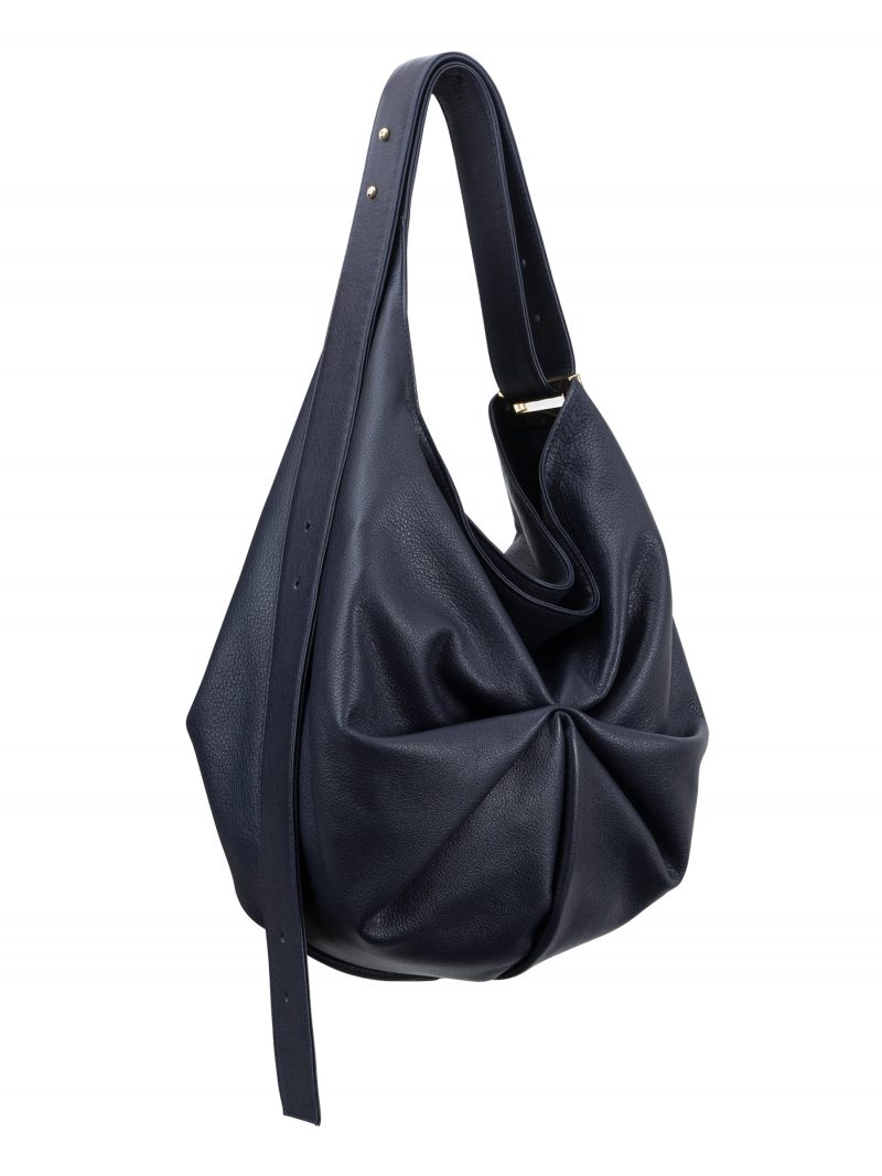 SACAR S shoulder bag in navy blue calfskin leather | TSATSAS
