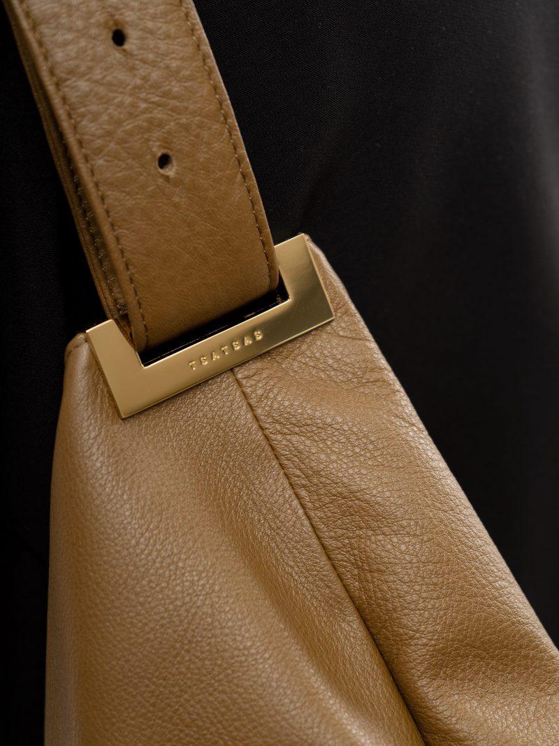 SACAR S shoulder bag in olive brown calfskin leather | TSATSAS
