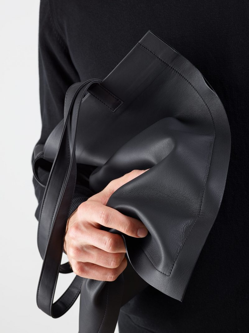 STRATO shoulder bag in black lamb nappa leather | TSATSAS