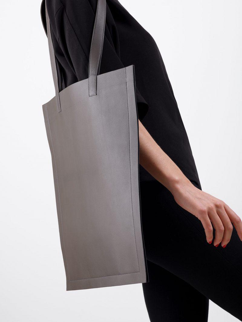 STRATO shoulder bag in grey lamb nappa leather | TSATSAS