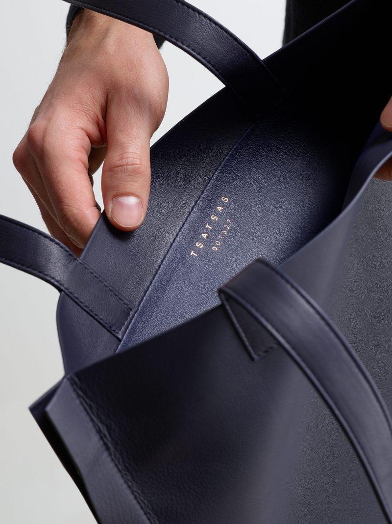 STRATO shoulder bag in navy blue lamb nappa leather | TSATSAS