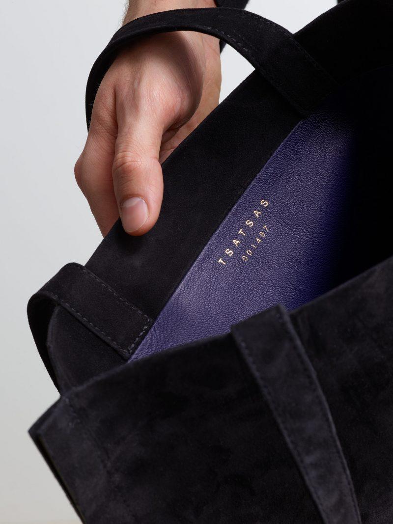 STRATO shoulder bag in black goat suede leather   TSATSAS