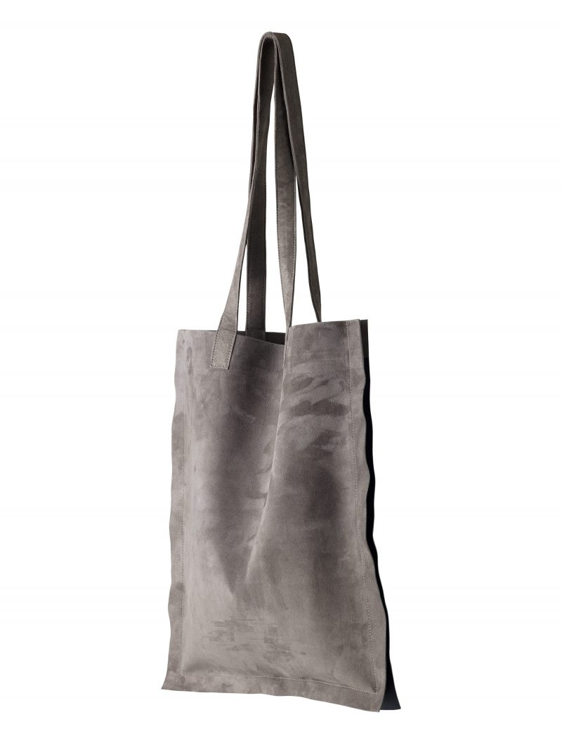 STRATO shoulder bag in grey goat suede leather | TSATSAS