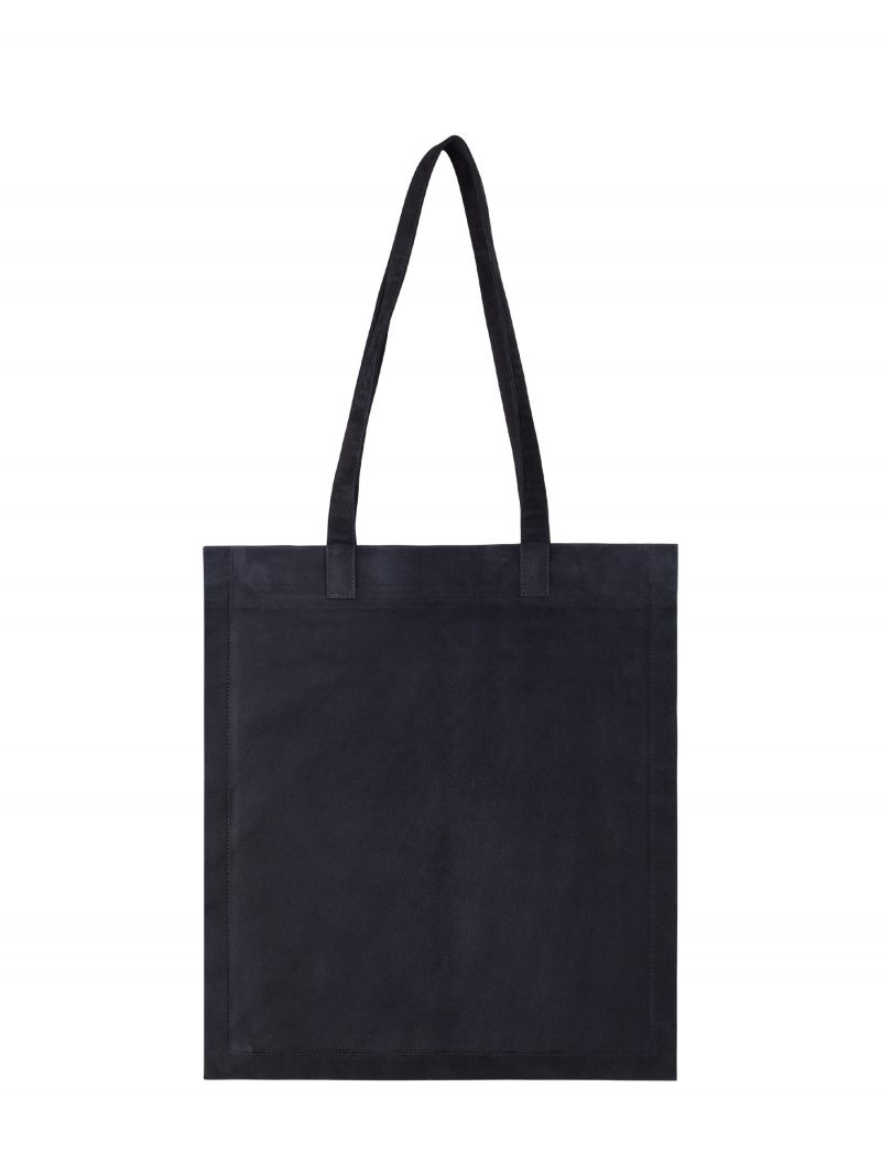STRATO shoulder bag in navy blue goat suede leather | TSATSAS