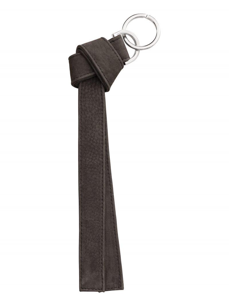 TAPE K keychain in black grey nubuck leather | TSATSAS